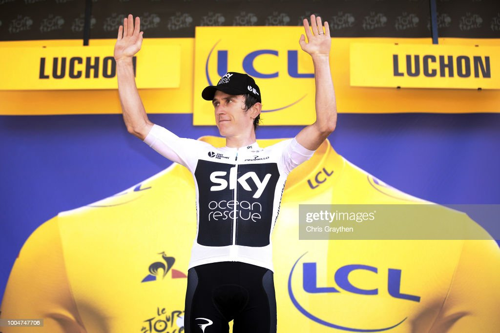 Podium / Geraint Thomas of Great Britain and Team Sky /Celebration / during the 105th Tour de France 2018, Stage 16 a 218km stage from Carcassonne to Bagneres-de-Luchon on July 24, 2018 in Bagneres-de-Luchon, France.
