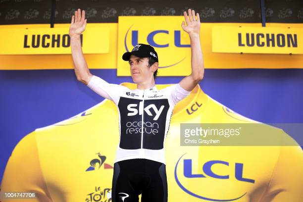 Podium / Geraint Thomas of Great Britain and Team Sky /Celebration / during the 105th Tour de France 2018, Stage 16 a 218km stage from Carcassonne to...