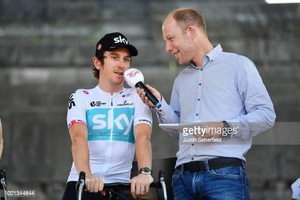 Podium / Geraint Thomas of Great Britain and Team Sky / during the 33rd Deutschland Tour 2018, Team Presentation / Deine Tour / on August 22, 2018 in...
