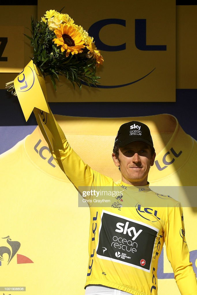 Podium / Geraint Thomas of Great Britain and Team Sky Yellow Leader Jersey / Celebration / during the 105th Tour de France 2018, Stage 12 a 175,5km stage from Bourg-Saint-Maurice Les Arcs to Alpe d'Huez 1850m / TDF / on July 19, 2018 in Alpe d'Huez, France.