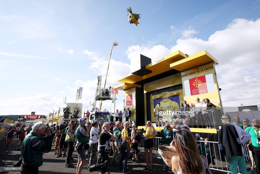 Podium / Geraint Thomas of Great Britain and Team Sky Yellow Leader Jersey / Celebration / during the 105th Tour de France 2018, Stage 14 a 188km stage from Saint-Paul-Trois-Chateaux to Mende 1030m / TDF / on July 21, 2018 in Mende, France.