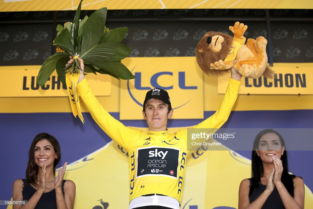 Podium / Geraint Thomas of Great Britain and Team Sky Yellow Leader Jersey / Celebration / during the 105th Tour de France 2018, Stage 16 a 218km stage from Carcassonne to Bagneres-de-Luchon on July 24, 2018 in Bagneres-de-Luchon, France.
