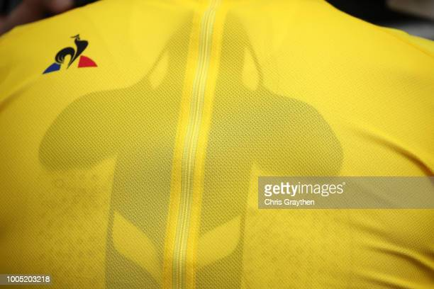 Podium / Geraint Thomas of Great Britain and Team Sky Yellow Leader Jersey / Team Sky Ocean Rescue / Orca / Detail View / during the 105th Tour de...