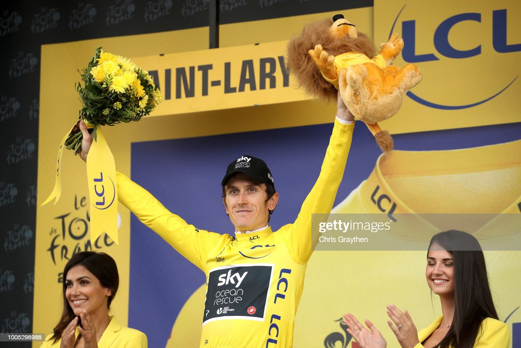 Podium / Geraint Thomas of Great Britain and Team Sky Yellow Leader Jersey / Celebration / during the 105th Tour de France 2018, Stage 17, a 67km stage from Bagneres-de-Luchon to Saint-Lary-Soulan - Col du Portet 2215m / TDF / on July 25, 2018 in Saint-Lary-Soulan - Col du Portet, France.