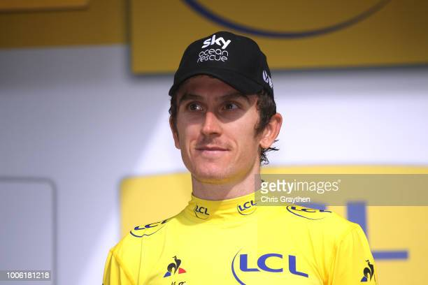 Podium / Geraint Thomas of Great Britain and Team Sky Yellow Leader Jersey / Celebration / during the 105th Tour de France 2018, Stage 19 a 200,5km...