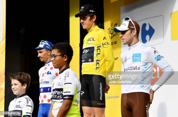 Podium / Geraint Thomas of Great Britain and Team Sky Yellow Leader Jersey / Julian Alaphilippe of France and Team Quick-Step Floors /Polka Dot...