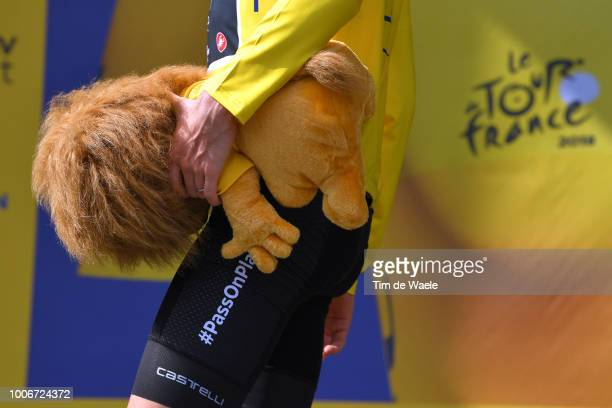 Podium / Geraint Thomas of Great Britain and Team Sky Yellow Leader Jersey / Celebration / Macot / Detail view / during the 105th Tour de France...