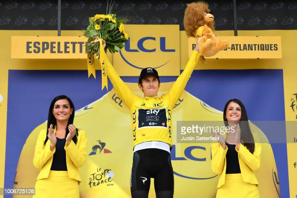 Podium / Geraint Thomas of Great Britain and Team Sky Yellow Leader Jersey / Celebration / during the 105th Tour de France 2018, Stage 20 a 31km...