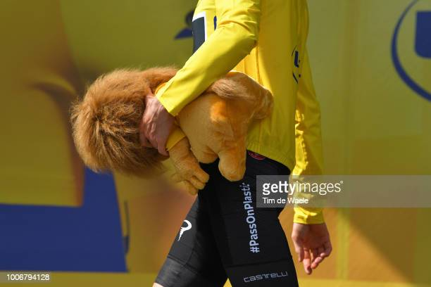 Podium / Geraint Thomas of Great Britain and Team Sky Yellow Leader Jersey / Celebration / Mascot / Detail view / during the 105th Tour de France...