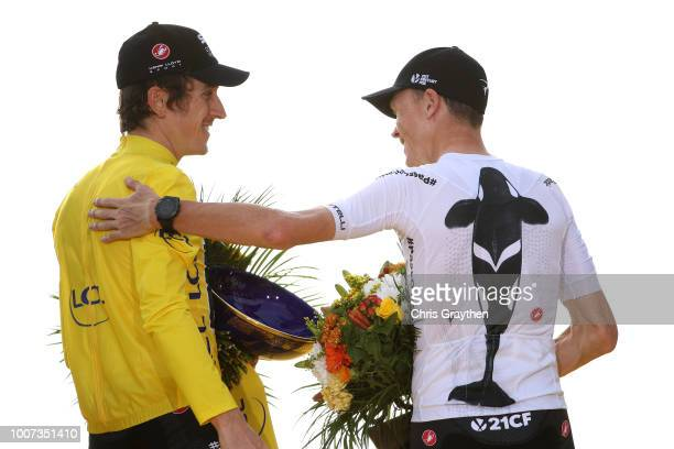 Podium / Geraint Thomas of Great Britain and Team Sky Yellow Leader Jersey / Christopher Froome of Great Britain and Team Sky / Team Sky Ocean Rescue...