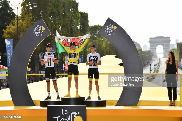 Podium / Geraint Thomas of Great Britain and Team Sky Yellow Leader Jersey / Tom Dumoulin of The Netherlands and Team Sunweb / Christopher Froome of...