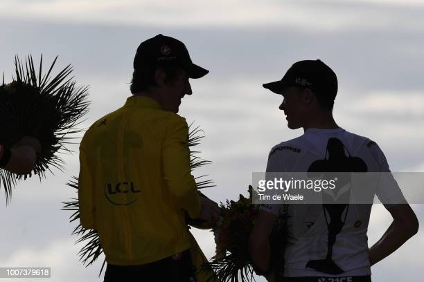 Podium / Geraint Thomas of Great Britain and Team Sky Yellow Leader Jersey / Christopher Froome of Great Britain and Team Sky / Celebration /...