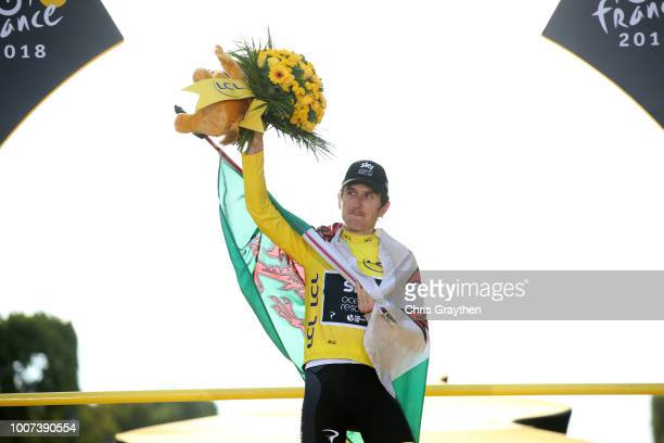 Podium / Geraint Thomas of Great Britain and Team Sky Yellow Leader Jersey / Celebration / Wales flag / during the 105th Tour de France 2018, Stage...