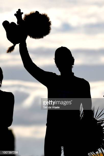 Podium / Geraint Thomas of Great Britain and Team Sky Yellow Leader Jersey / Celebration / Silhouet / Mascot / during the 105th Tour de France 2018...