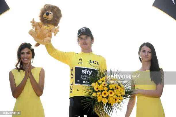 Podium / Geraint Thomas of Great Britain and Team Sky Yellow Leader Jersey / Celebration / during the 105th Tour de France 2018, Stage 21 a 116km...