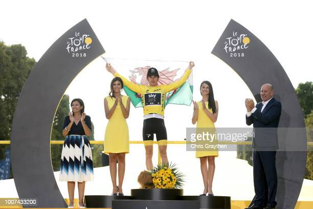 Podium / Geraint Thomas of Great Britain and Team Sky Yellow Leader Jersey / Celebration / Wales flag / during the 105th Tour de France 2018 Stage 21...