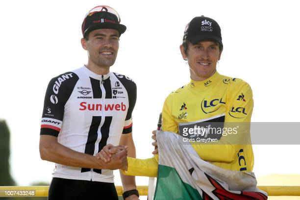 Podium / Geraint Thomas of Great Britain and Team Sky Yellow Leader Jersey / Tom Dumoulin of The Netherlands and Team Sunweb / Celebration / Wales...