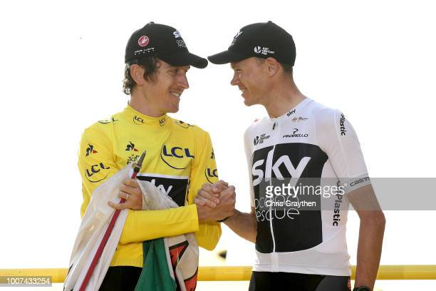 Podium / Geraint Thomas of Great Britain and Team Sky Yellow Leader Jersey / Christopher Froome of Great Britain and Team Sky / Celebration / Wales...