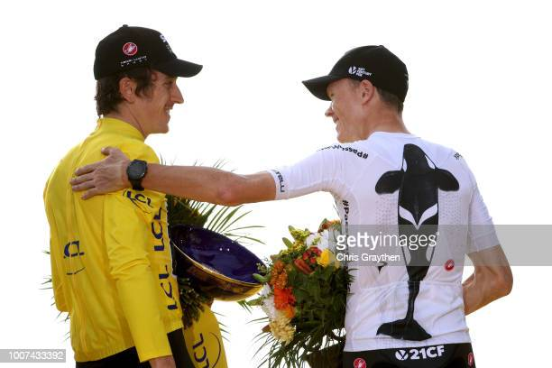Podium / Geraint Thomas of Great Britain and Team Sky Yellow Leader Jersey / Christopher Froome of Great Britain and Team Sky / Celebration / Trophy...