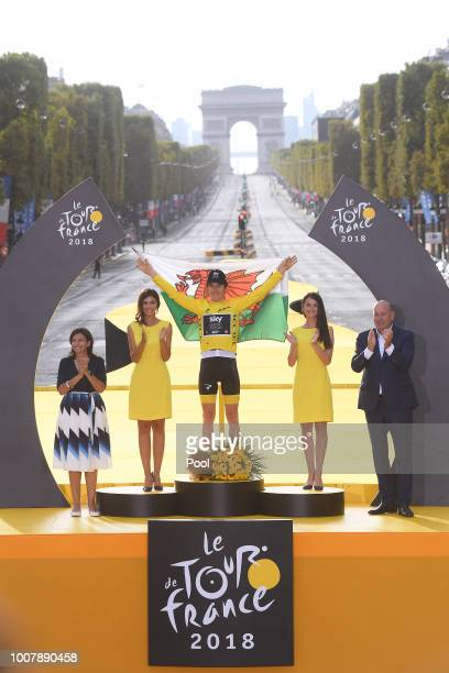 Podium / Geraint Thomas of Great Britain and Team Sky Yellow Leader Jersey /Celebration / Arc De Triomphe / Wales flag / during the 105th Tour de...