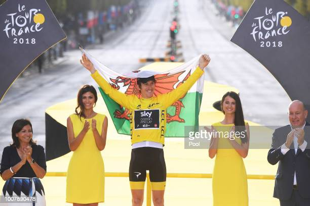 Podium / Geraint Thomas of Great Britain and Team Sky Yellow Leader Jersey /Celebration / Wales flag / during the 105th Tour de France 2018, Stage 21...