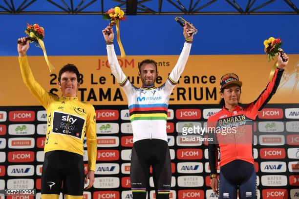 Podium / Geraint Thomas of Great Britain and Team Sky Yellow Leader Jersey / Alejandro Valverde of Spain and Movistar Team Celebration / Yukiya...