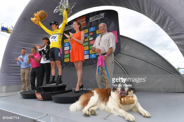 Podium / Geraint Thomas of Great Britain and Team Sky Yellow Leader Jersey / Celebration / Thomas Voeckler of France ASO / Saint Bernard rescue dog /...