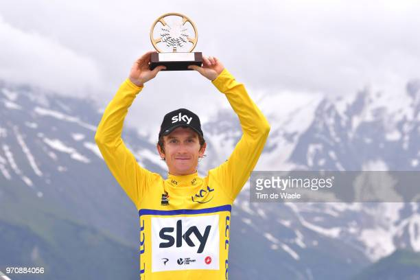 Podium / Geraint Thomas of Great Britain and Team Sky Yellow Leader Jersey / Celebration / Trophy / Mountains / Snow / during the 70th Criterium du...