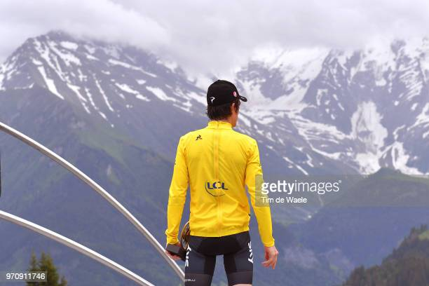 Podium / Geraint Thomas of Great Britain and Team Sky Yellow Leaders Jersey / Mountains / during the 70th Criterium du Dauphine 2018, Stage 7 a 136km...