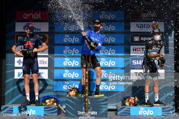 Podium / Geraint Thomas of The United Kingdom and Team INEOS Grenadiers / Simon Yates of The United Kingdom and Team Mitchelton-Scott Blue Leader...