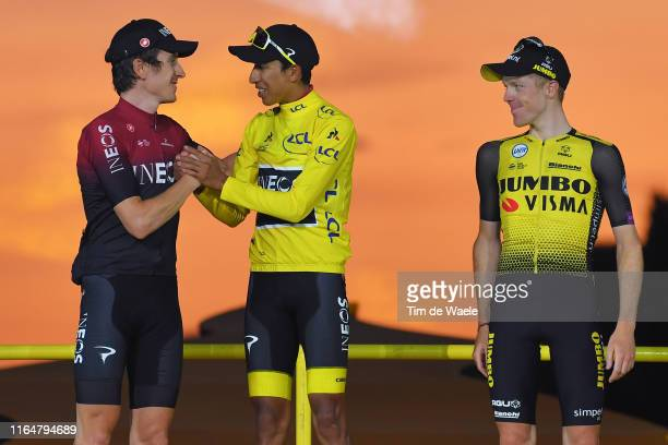 Podium / Geraint Thomas of United Kingdom and Team INEOS / Egan Bernal of Colombia and Team INEOS Yellow Leader Jersey / Steven Kruijswijk of The...