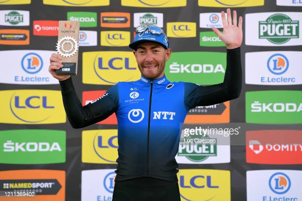 Podium / Giacomo Nizzolo of Italy and NTT Pro Cycling Team / Celebration / Trophy / during the 78th Paris - Nice 2020, Stage 2 a 166,5km stage from...