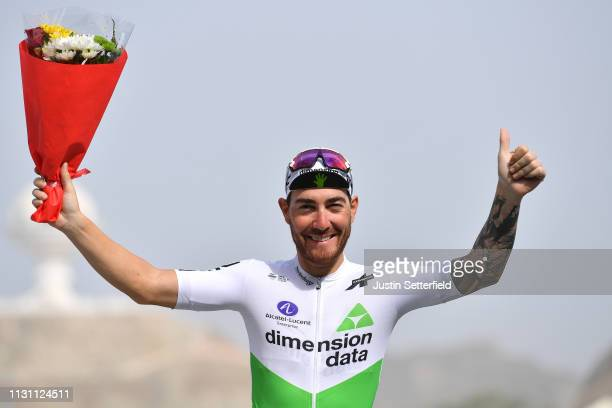 Podium / Giacomo Nizzolo of Italy and Team Dimension Data / Celebration / during the 10th Tour of Oman 2019, Stage 6 a 135,5km stage to Al Mouj...