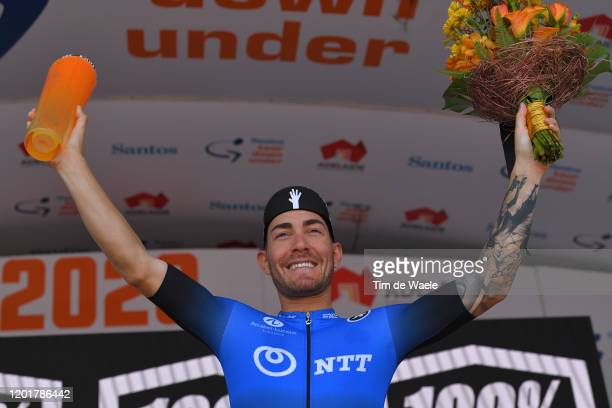 Podium / Giacomo Nizzolo of Italy and Team NTT Pro Cycling / Celebration / Trophy / during the 22nd Santos Tour Down Under 2020, Stage 5 a 149,1km...