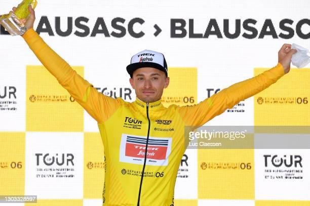 Podium / Gianluca Brambilla of Italy and Team Trek - Segafredo Yellow Leader Jersey celebrate during the 53rd Tour Des Alpes Maritimes Et Du Var,...
