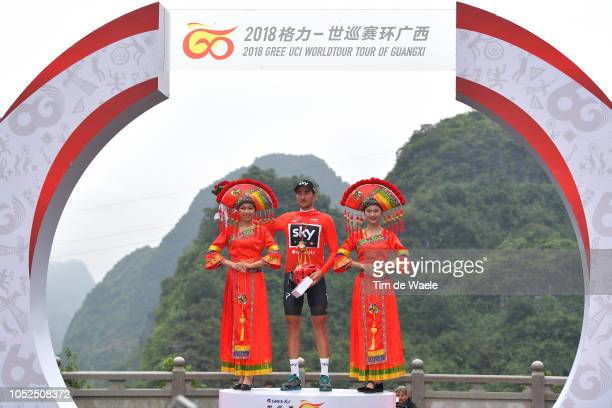Podium / Gianni Moscon of Italy and Team Sky Red Leader Jersey Celebration / during the 2nd Tour of Guangxi 2018 Stage 4 a 1522km stage from Nanning...