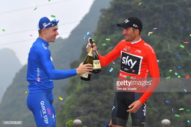 Podium / Gianni Moscon of Italy and Team Sky Red Leader Jersey Fabio Jakobsen of The Netherlands and Team QuickStep Floors Blue Sprint Jersey /...