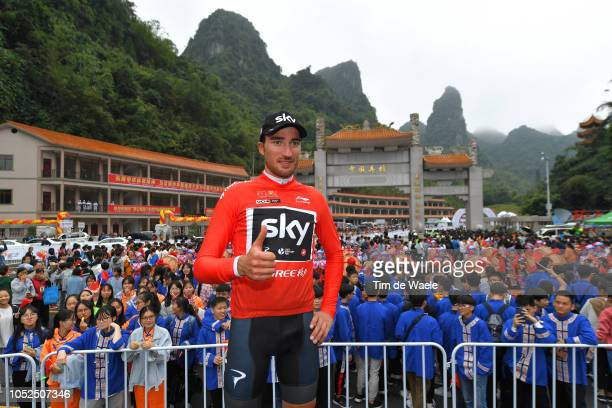 Podium / Gianni Moscon of Italy and Team Sky Red Leader Jersey Celebration / Public / Fans / during the 2nd Tour of Guangxi 2018 Stage 4 a 1522km...