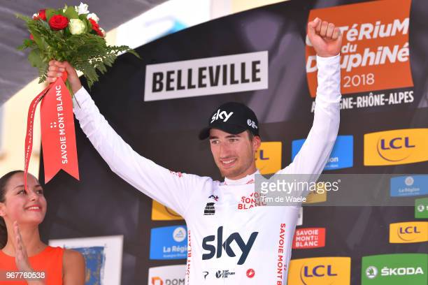 Podium / Gianni Moscon of Italy and Team Sky White Best Young Jersey / Celebration / during the 70th Criterium du Dauphine 2018 Stage 2 a 181km stage...