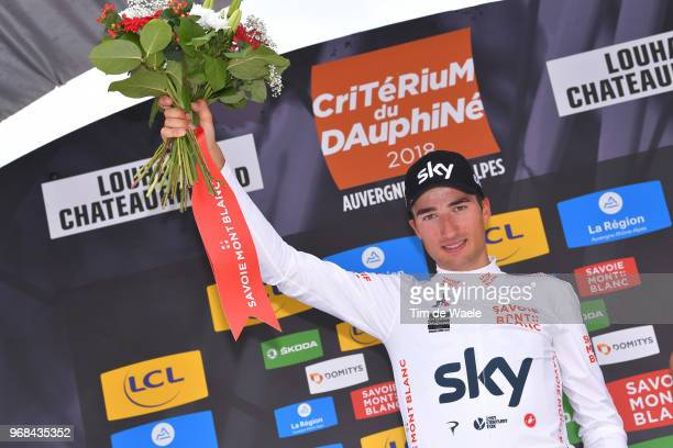Podium / Gianni Moscon of Italy and Team Sky White Best Young Jersey / Celebration / during the 70th Criterium du Dauphine 2018 Stage 3 a 35km Team...