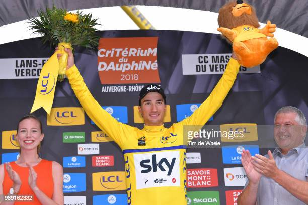 Podium / Gianni Moscon of Italy and Team Sky Yellow Leader Jersey / Celebration / Flowers / during the 70th Criterium du Dauphine 2018, Stage 4 a...