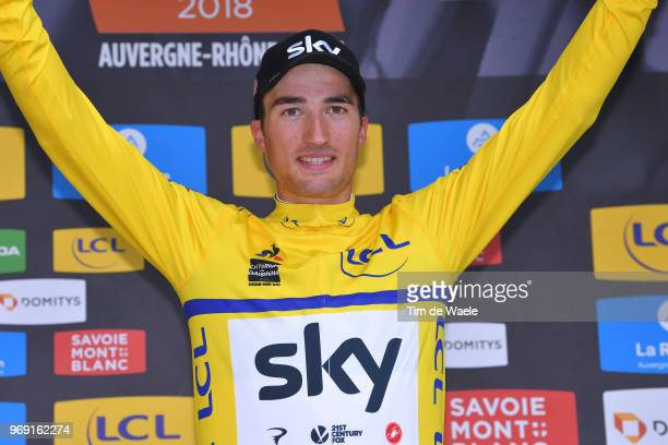 Podium / Gianni Moscon of Italy and Team Sky Yellow Leader Jersey / Celebration / during the 70th Criterium du Dauphine 2018, Stage 4 a 181km stage...
