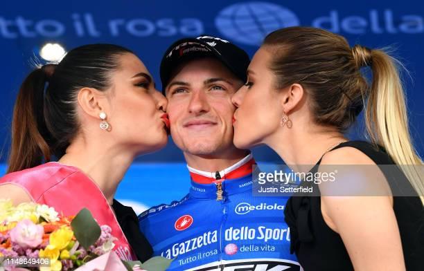 Podium / Giulio Ciccone of Italy and Team Trek - Segafredo Blue Mountain Jersey / Celebration / Miss / Hostess / Kiss / during the 102nd Giro...