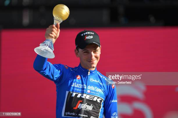 Podium / Giulio Ciccone of Italy and Team Trek - Segafredo Blue Mountain Jersey / Celebration / Trophy / during the 102nd Giro d'Italia 2019, Stage...
