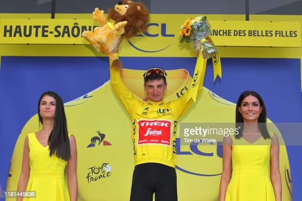 Podium / Giulio Ciccone of Italy and Team Trek-Segafredo Yellow Leader Jersey / Celebration / Miss / Hostess / during the 106th Tour de France 2019,...