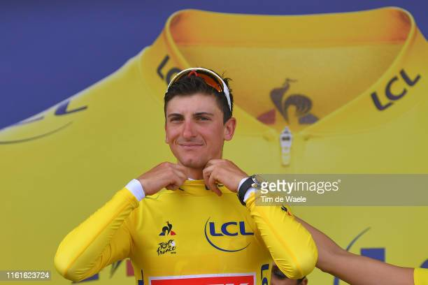 Podium / Giulio Ciccone of Italy and Team Trek-Segafredo Yellow Leader Jersey / Celebration / during the 106th Tour de France 2019, Stage 7 a 230km...