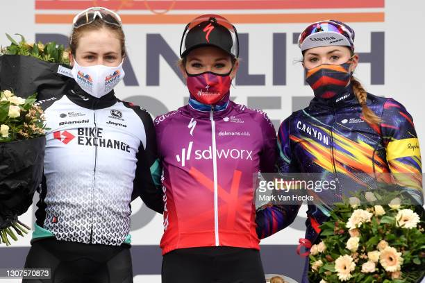 Podium / Grace Brown of Australia and Team BikeExchange, Amy Pieters of Netherlands and Team SD Worx & Lisa Klein of Germany and Team Canyon SRAM...