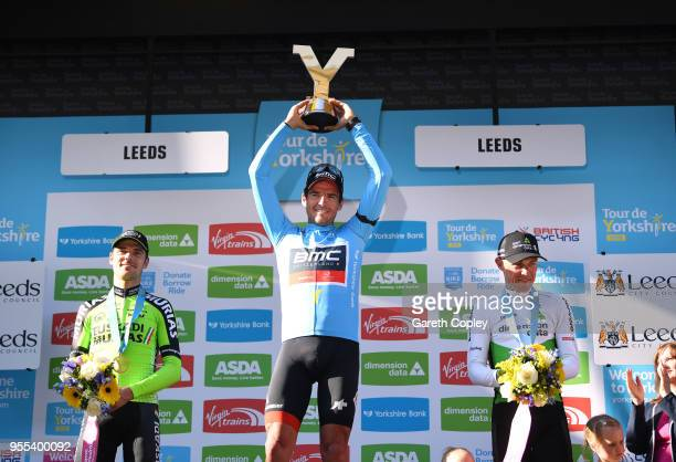Podium / Greg Van Avermaet of Belgium and BMC Racing Team Blue Leader Jersey / Eduard Prades Reverter of Spain and Team Euskadi Basque Country /...