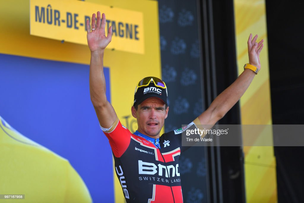 Podium / Greg Van Avermaet of Belgium and BMC Racing Team / Celebration / during 105th Tour de France 2018, Stage 6 a 181km stage from Brest to Mur-de-Bretagne Guerledan 293m / TDF / on July 12, 2018 in Mur-de-Bretagne Guerledan, France.
