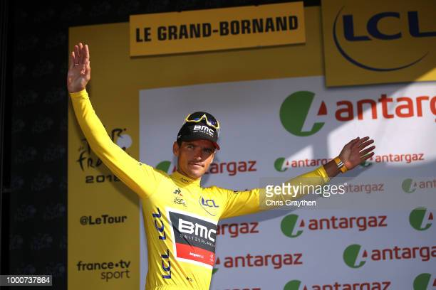 Podium / Greg Van Avermaet of Belgium and BMC Racing Team Yellow Leader Jersey / Celebration / during the 105th Tour de France 2018 / Stage 10 a...